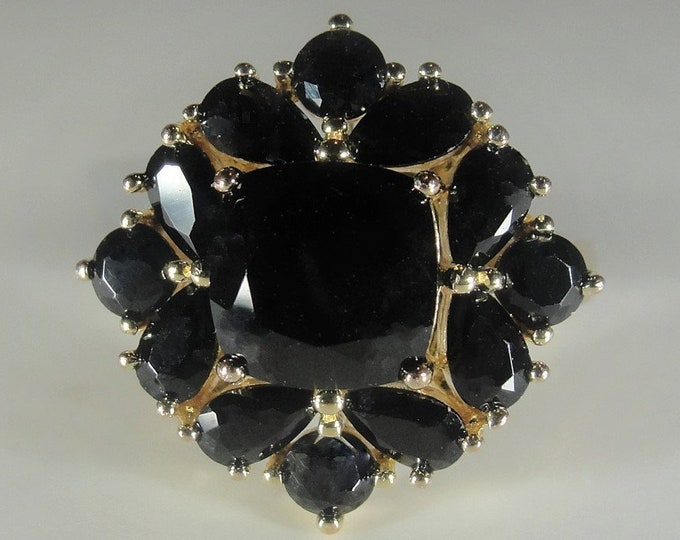 Black Onyx Ring, Black Onyx Gold Vermeil Cluster Ring, Right Hand Ring, Cocktail Ring, Vintage Ring, Size 7, FREE SIZING!!