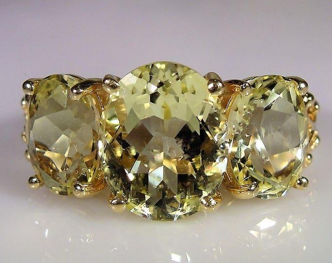 14K Lemon Citrine Ring, Lemon Lime Citrine Trilogy Ring, 3 Stone Citrine Ring, Citrine Ring, Anniversary Ring, Vintage Ring, FREE SIZING!!