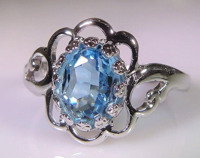 SETA Ring, Blue Glass Ring, Art Deco Ring, Sterling Silver, Swiss Blue Glass, Blue Ring, Blue Silver Ring, Vintage Ring, FREE SIZING
