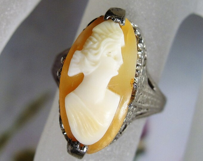 Cameo Ring, Art Nouveau Ring, 1910 Antique Ring, Sterling Silver, Art Nouveau Cameo Ring, Carved Shell Cameo, Cameo, Vintage Ring, Size 5.25