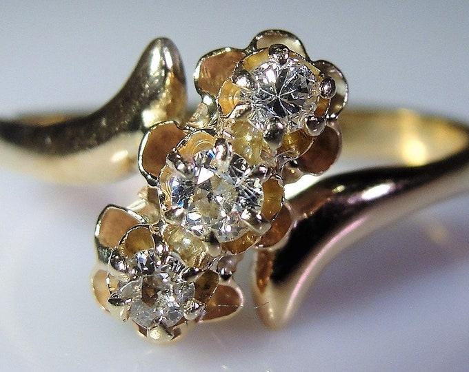 14K Art Nouveau Bypass Ring, 3 Diamond Ring, Diamond Flower Ring, Promise Ring, Trilogy Ring, Anniversary Ring, Vintage Ring, Size 6.25