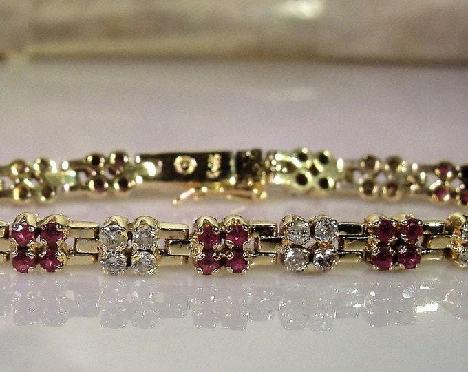 Tennis Bracelet, Vintage 14K Yellow Gold Ruby and Diamond Bracelet