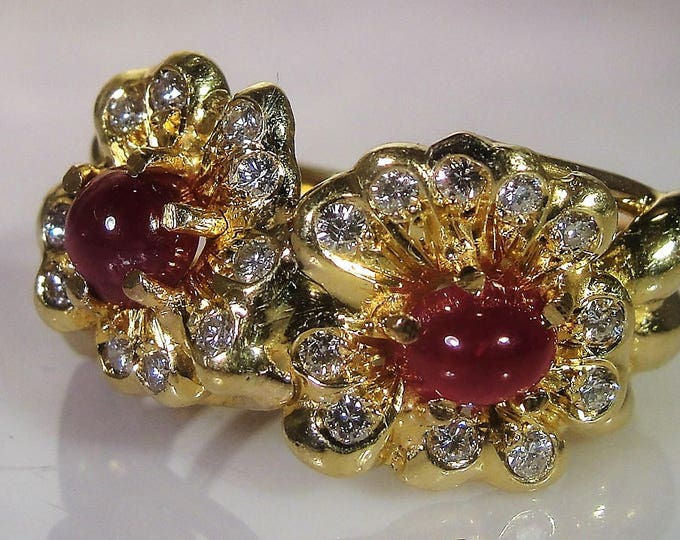 Ruby Ring, Art Nouveau 18K Yellow Gold Ruby Cabochon & Diamond Ring, European Diamonds, Flower Ring, Vintage Ring, Size 8.5, FREE SIZING!!