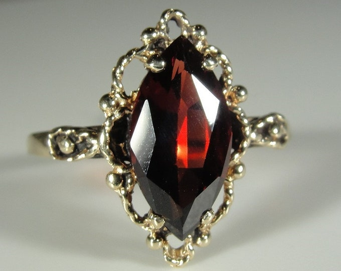 Garnet Ring, 14k Yellow Gold Marquise Garnet Decorative Ring, Lacey Ring, Right Hand Ring, Size 6.25, FREE SIZING!!