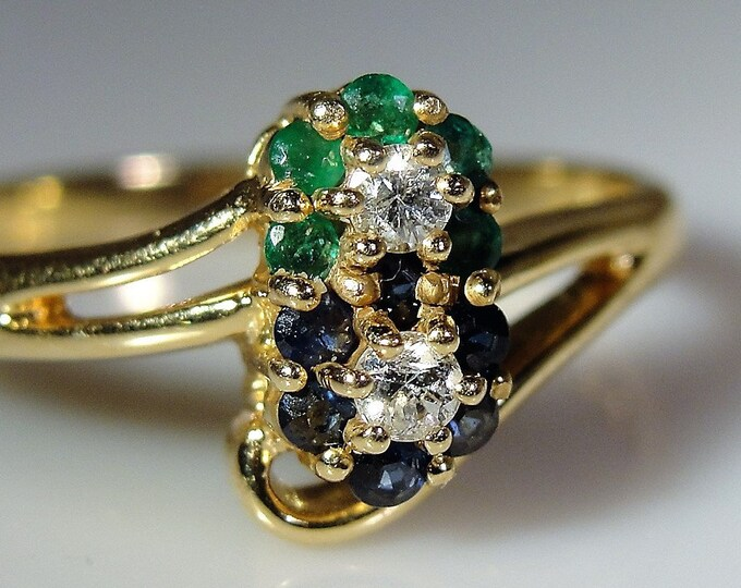 14K Flower Ring, Sapphire Emerald Diamond Flower Ring, Petite Flower Ring, Blue Sapphires, Green Emeralds, Vintage Ring, Sz 6.75-FREE Sizing