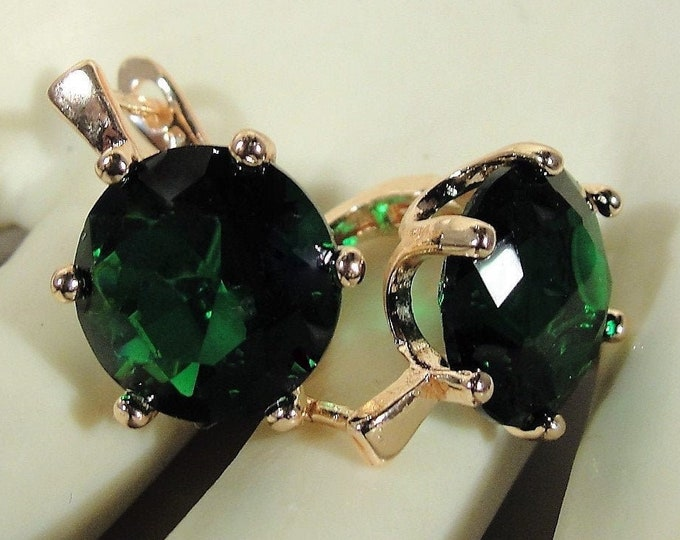 18K Rose Gold Vermeil 12mm Round Cut Emerald Lever Back Earrings, Emerald Lab Created Earrings, 10 CTW Pair of Earrings, Vintage Earrings