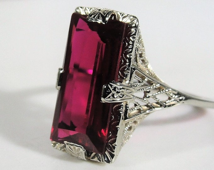 Ruby Ring, Art Deco 14K White Gold Ruby Ring, Long Emerald Cut Gem, Lab Created Ruby, Right Hand Ring, Vintage Ring, Size 7.5, FREE SIZING!!