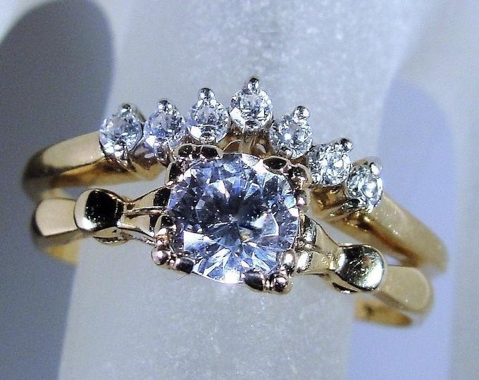 Bridal Ring Set, 10K CZ Diamond Ring Set, Cubic Zirconia Gems, Engagement Ring, Chevron Wedding Band, Vintage Rings, Size 7.5, FREE SIZING!!