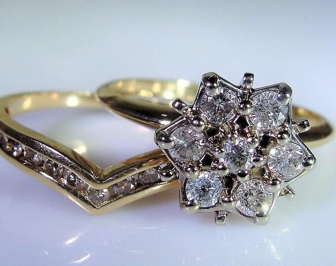 10K Diamond Bridal Ring Set, Genuine Diamonds .80 TCW, Diamond Cluster Engagement Ring, Chevron Wedding Band, Vintage Rings, Size 7