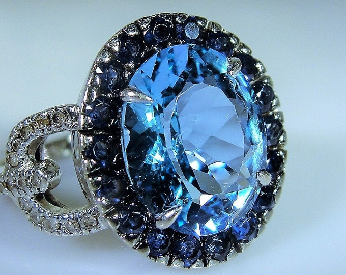 10K White Gold Topaz Ring, Multi Gem Ring, Swiss Blue Topaz, Dark Blue Spinel Gems, Genuine Diamond Accents, Right Hand Ring, Vintage Ring