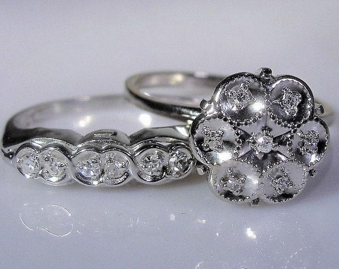 Bridal Ring Set, 14K White Gold Art Deco Diamond Bridal Ring Set, .23 CTW, Engagement Ring, Wedding Band, Vintage Rings, Size 7, FREE SIZING