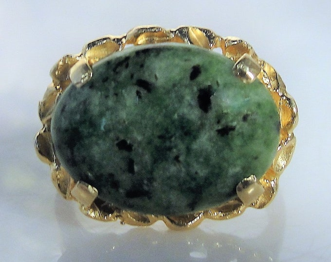 Jadeite Ring, 14K Jadeite Statement Ring, 14K Yellow Gold, Green Mottled Stone, Right Hand Ring, Vintage Ring, Size 6.5, FREE SIZING!!