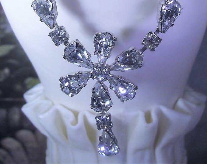 "Mid Century Rhinestone Flower ""Y"" Choker, Rhinestone Necklace, Bridal Choker, Wedding Necklace, Vintage Choker"