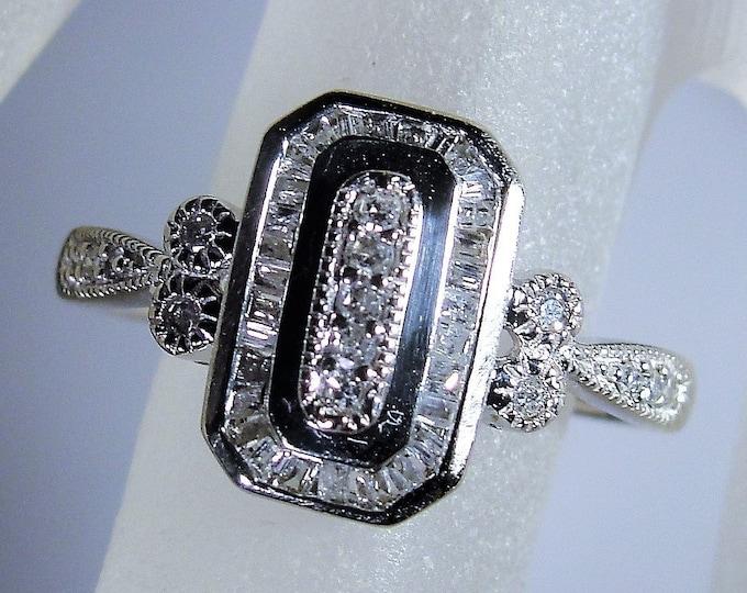 10K White Gold Art Deco Style Diamond Ring, Multi Stone Ring, Diamond Cocktail Ring, Dinner Ring, Vintage Ring, Size 7