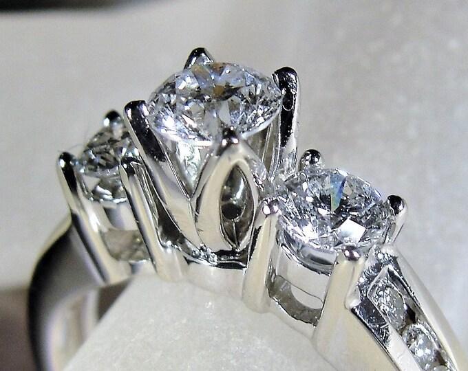14K White Gold Diamond Trilogy Engagement Ring with Channel Set Diamonds, Engagement Ring, Wedding Ring, Vintage Ring, Size 6.5