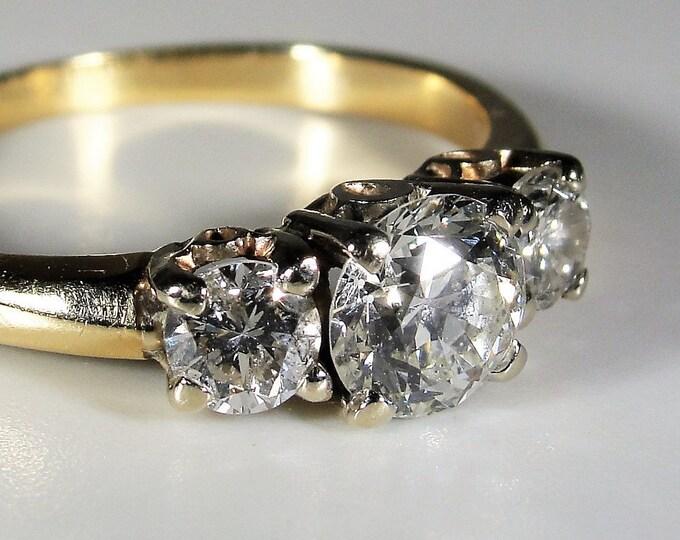Diamond Trilogy Ring, 14K Yellow Gold Diamond Trilogy Ring, 1.25 CTW, Engagement Ring, Wedding Ring, Anniversary Ring, Size 6.5, FREE SIZING