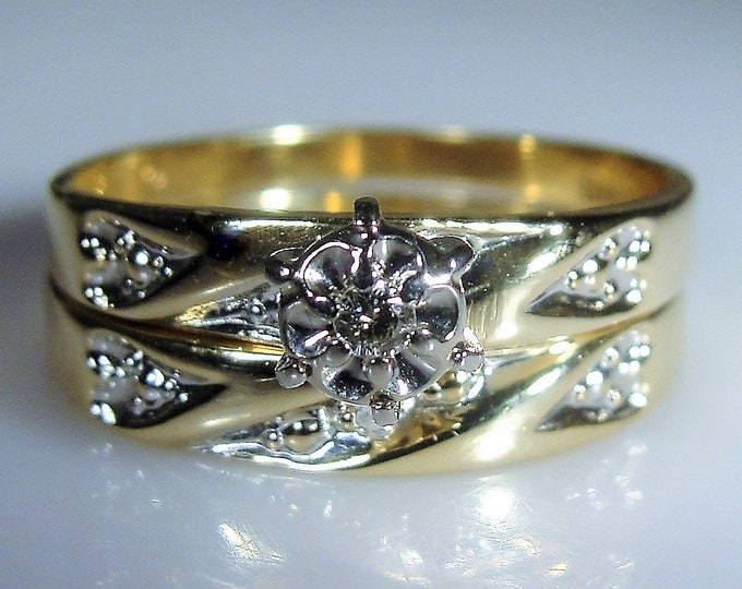 LOVE STORY 10K Diamond Bridal Ring Set, Heart Design Wedding Rings, Diamond Engagement Ring, Matching Wedding Band, Vintage Rings, Size 5