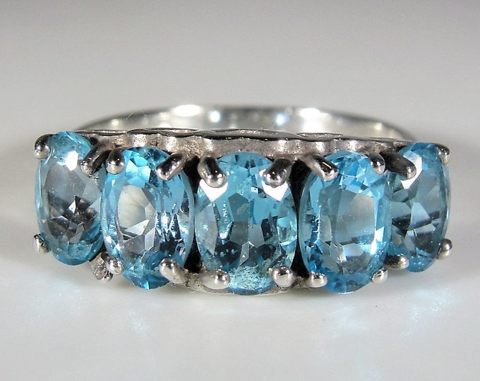 Sterling Blue Topaz Ring, Genuine Swiss Blue Topaz 5 Stone Band Ring, Right Hand Ring, Statement Ring, December Birthstone, S 6, FREE SIZING