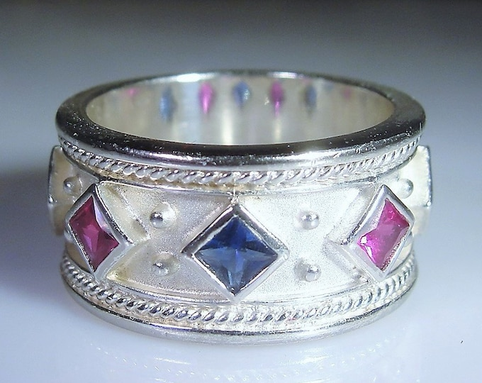 Sapphire Topaz Ring, Byzantine Style Blue Sapphire & Pink Topaz Sterling Silver Band Ring, Vintage Ring, Unisex Band, Size 7, FREE SIZING!!