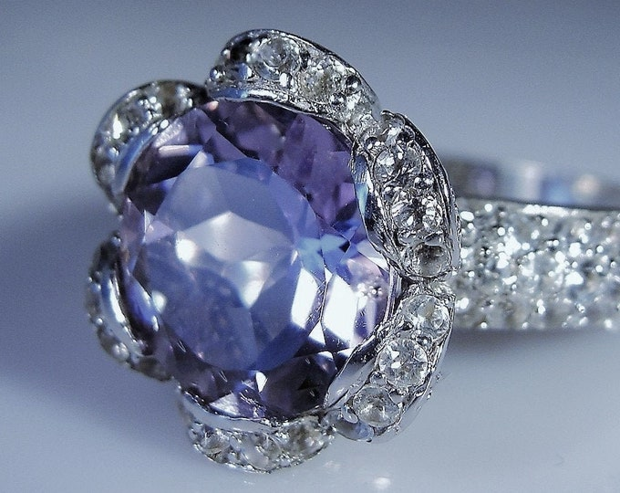 5 CT Amethyst & White Topaz Sterling Silver Ring, Purple Amethyst, White Topaz Accents, Buttercup Amethyst Ring, Vintage Ring – Size 9