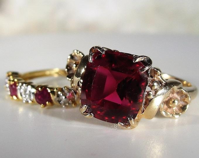 Bridal Ring Set, 14K Art Nouveau Ruby & Diamond Bridal Rings, Ruby Engagement Ring and Wedding Band, Vintage Rings, Size 6.25, FREE SIZING!!