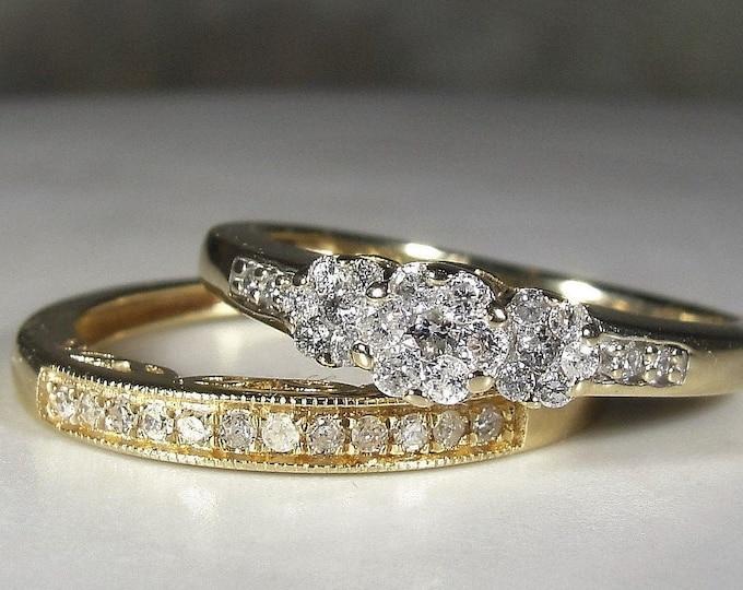 Bridal Ring Set, 10K Diamond Trilogy Wedding Rings, Diamond Cluster Trilogy Engagement Ring, Diamond Band, Vintage Rings, S 6.5, FREE SIZING