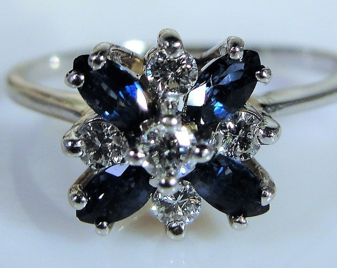 14K White Gold Diamond and Blue Sapphire Ring, Statement Ring, Cocktail Ring, Right Hand Ring, Vintage Ring, Size 8.75, FREE SIZING!!