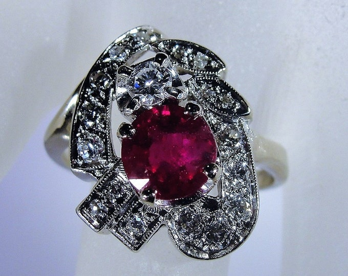 Vintage 14K White Gold Ruby and Diamond Free Form Ring, Genuine Ruby, Genuine Diamonds, Vintage Ring, Size 9.5