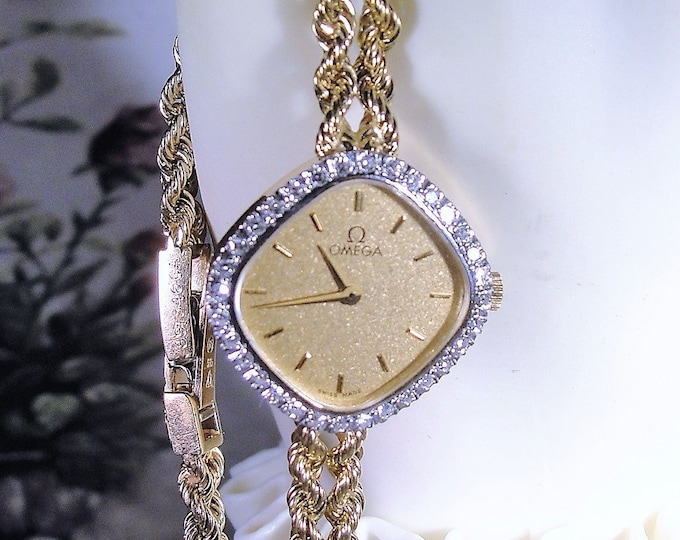 OMEGA Wrist Watch, 14K Gold Diamond Wrist Watch, Women's Wrist Watch, Ultra-Thin Gold Wrist Watch, Vintage Wrist Watch