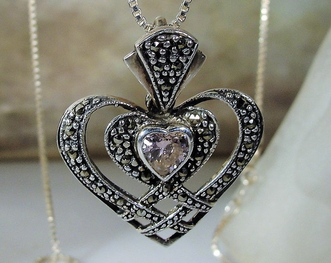 Genuine Pink Topaz Marcasite Heart Necklace, Sterling Silver Heart Pendant, 20 Inch Italian Box Chain, Vintage Necklace