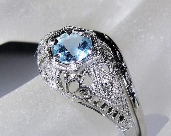 Bridal Ring Set, 14K White Gold Edwardian Style Aquamarine and Diamond Bridal Ring Set, Engagement Ring, Wedding Band, Size 8, FREE SIZING!!