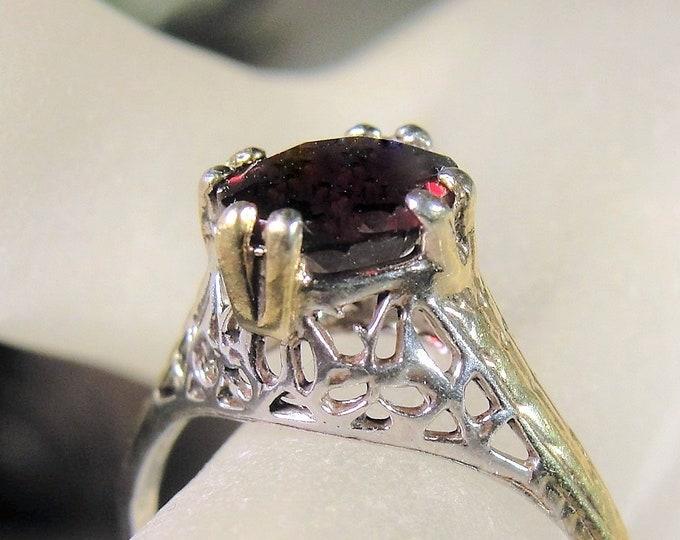 Vintage Edwardian 14K Gold and Sterling Silver Genuine Garnet Ring, Garnet Ring, Edwardian Filigree Ring, Vintage Ring, Antique Ring, Sz 6.5
