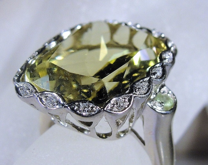 Stunningly Gorgeous 14K White Gold Lemon Citrine and Diamond Cocktail Ring, Emerald Cushion Cut Gem, 14 Carats, Vintage Ring, Size 5.75