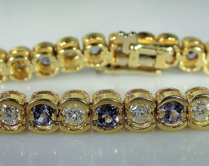 Tennis Bracelet, Vintage 14K Yellow Gold Tanzanite and Diamond Tennis Bracelet, Vintage Bracelet