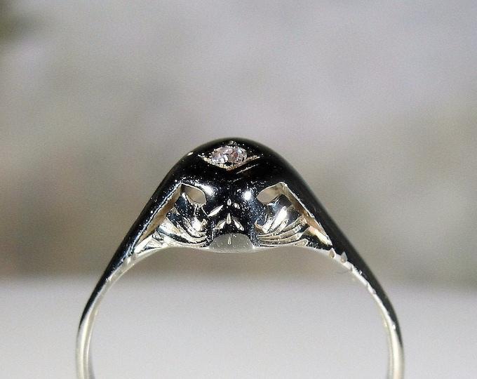Diamond Ring, 14K White Gold Art Deco Petite Diamond Promise Ring, April Birthstone, Engagement Ring, Size 6, Antique Ring, FREE SIZING!!