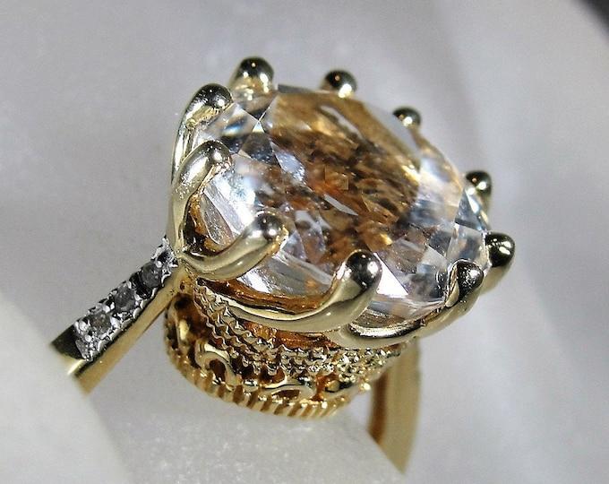 Topaz Ring, Victorian Style 10K Yellow Gold White Topaz & Diamond Ring, Engagement Ring, April Birthday, Sz 8.25, Vintage Ring, FREE SIZING!