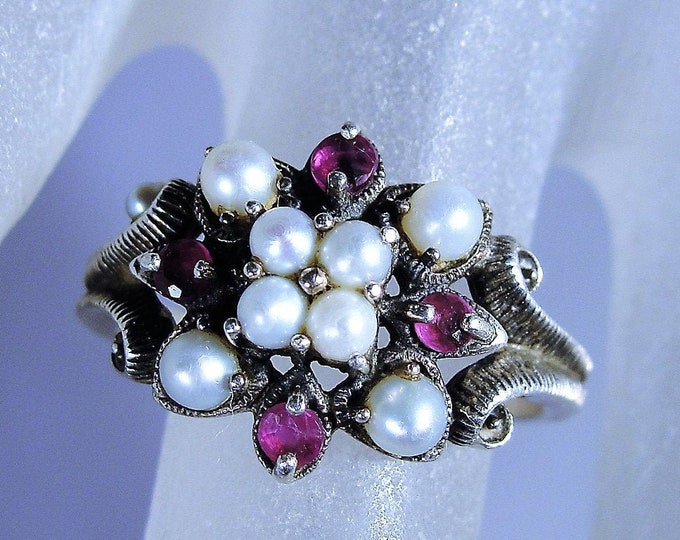 Victorian Genuine Ruby and Seed Pearls Sterling Silver Ring, Decorative Milgrain Metal Work, Vintage Ring, Size 7