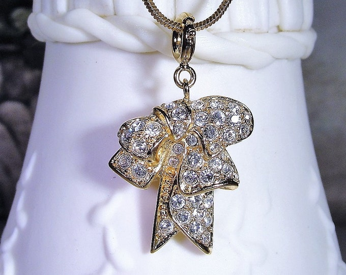 Multi-purpose Charm, NOLAN MILLER Glamour Collection Rhinestone Encrusted Bow Charm and Chain