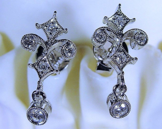 Pierced Earrings, Dainty 18K White Gold Art Deco Fleur-De-Lis Full Cut Diamond Earrings, Art Deco Style Earrings, Vintage Earrings