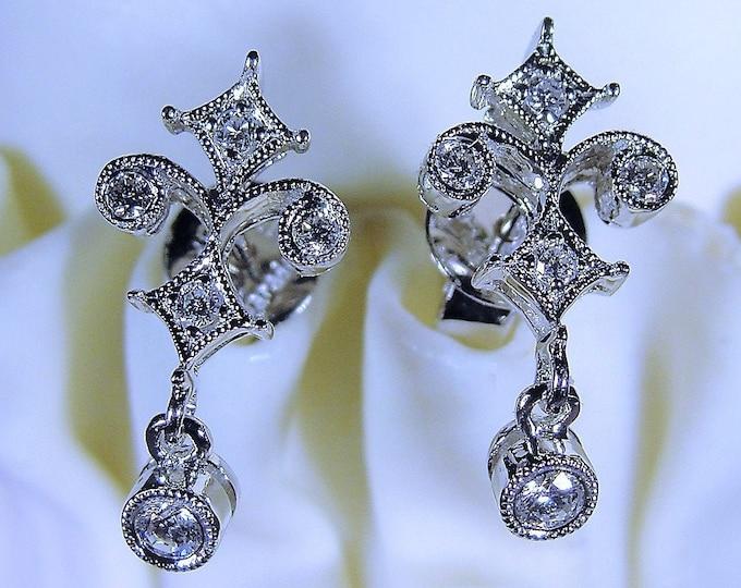 18K White Gold Art Deco Fleur-De-Lis Diamond Earrings, Art Deco Style Earrings, Dainty Dangle Earrings, Full Cut Diamonds, Vintage Earrings