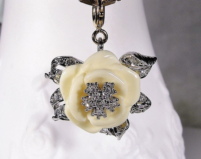 Multi-purpose Charm, NOLAN MILLER Winter White Rose Charm with Sparkly CZ Accents, Vintage Charm