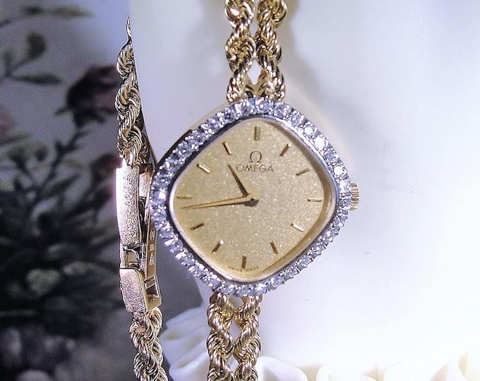 OMEGA Wrist Watch, 14K Gold Diamond Wrist Watch, Women's Wrist Watch, Ultra-Thin Gold Wrist Watch, Diamond Wrist Watch, Vintage Wrist Watch