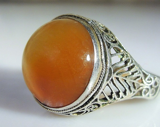 Edwardian Amber Cabochon Sterling Silver Ring, Round Amber Cabochon, Adjustable Size, Antique Ring, Vintage Ring, Current Size Set at 8