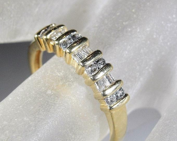 Diamond Band Ring, 14K Yellow Gold Diamond Wedding Band, Alternating Round and Baguette Diamonds, Size 7, Vintage Ring, FREE SIZING!!