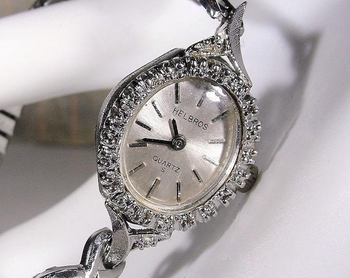Women's Wrist Watch, HELBROS Stainless Steel and Diamond Quartz Wrist Watch, Diamond Wrist Watch, Women's Wrist Watch