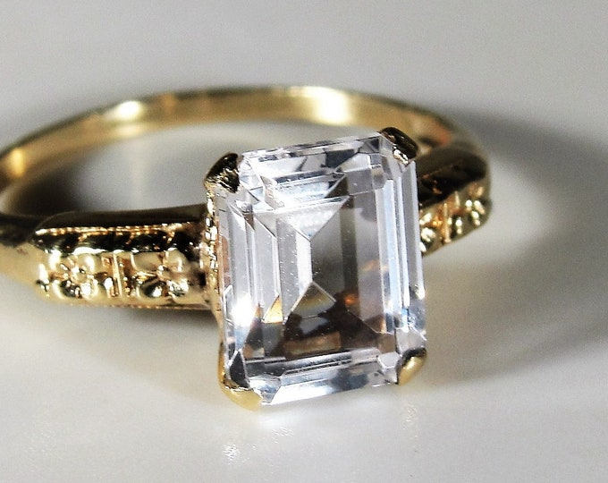 Victorian Ring, 10K Yellow Gold Emerald Cut Diamond Quartz Victorian Ring, Right Hand Ring, Promise Ring, Vintage Ring, Size 5, FREE SIZING!