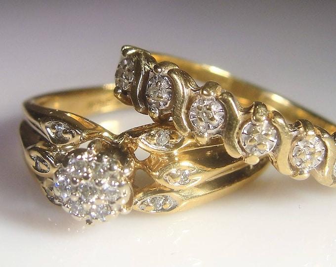 Bridal Ring Set, 10K Yellow Gold Diamond Flower Cluster Ring Set, Engagement Ring, Wedding Band, Vintage Rings, Size 7.5, FREE SIZING!!