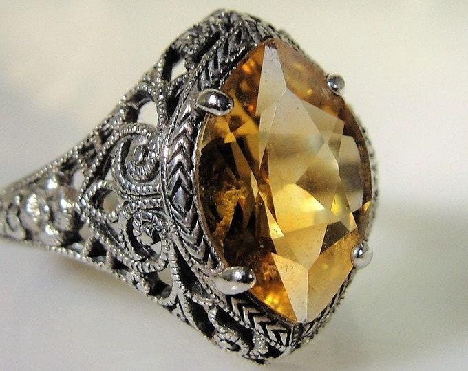 Edwardian Filigree Ring, Citrine Ring, Sterling Silver Ring, Citrine Sterling Silver Filigree Ring, Orange Citrine, Vintage Ring, Size 9