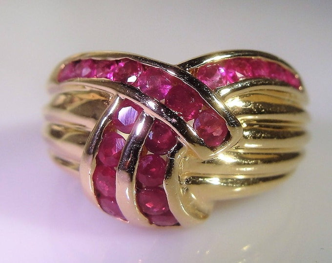 Ruby Ring, 14K Gold Ruby Ring, Ruby Band, Genuine Rubies, Channel Set Ruby Ring, Vintage Ring, Size 5, FREE SIZING!!