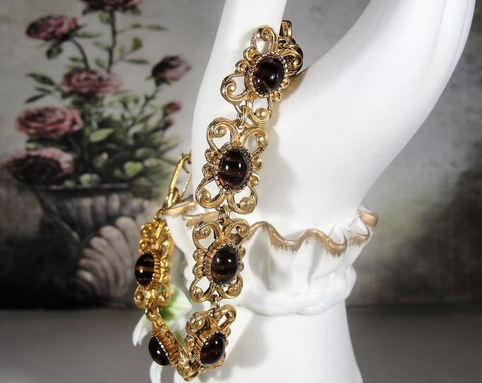 Link Bracelet, Vintage FLORENZA Tiger's Eye Cabochon Gold Tone Scroll Work Link Bracelet, Vintage Bracelet